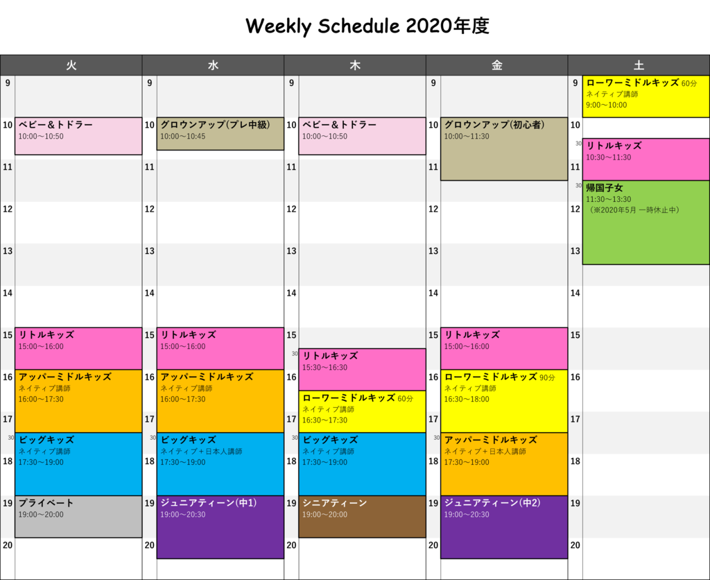 Weekly Schedule 2020年度